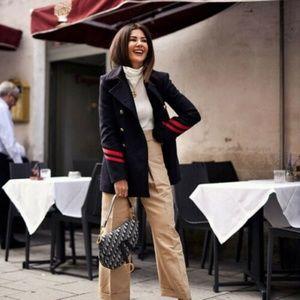 Zara navy blue military wool coat